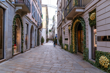 Poster Milan Beautiful street in Milan