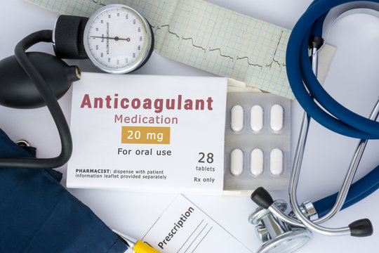 "Anticoagulant drug for blood, for prevention or prophylaxis of vascular diseases of heart or brain. Packing of pills with inscription ""Anticoagulant Medication"" on table"