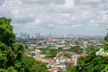 Olinda, Brazil - Circa April 2019: A view of Recife's cityscape and skyline as seen from Olinda