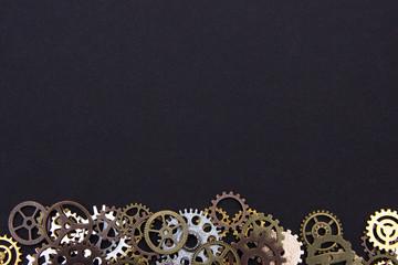 Steel gear gears on a black background. copy space.
