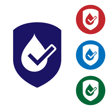 Blue Waterproof icon isolated on white background. Water resistant or liquid protection concept. Set color icon in circle buttons. Vector Illustration