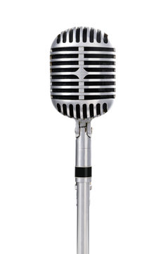 Front view of a vintage microphone