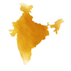 Colorful water color India map on canvas background. Digital painting.