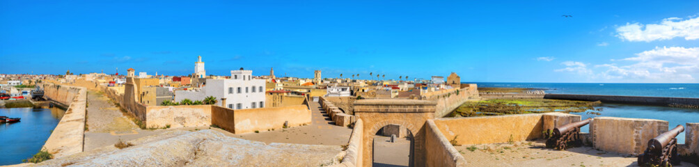 Garden Poster Morocco Wide panoramic view of ancient fortress and medina at Essaouira. Morocco, North Africa