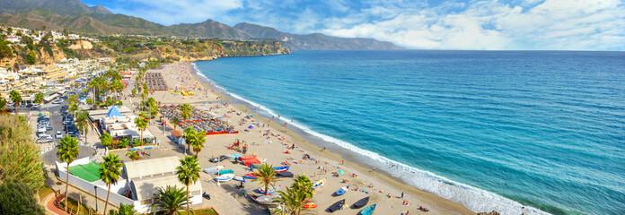 Spoed Fotobehang Blauw Nerja beach. Malaga province, Costa del Sol, Andalusia, Spain