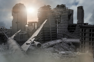 view of the destroyed post-apocalyptic city 3D render Wall mural
