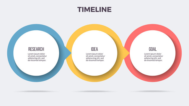 Business infographics. Timeline with 3 steps, options, circles. Vector template.