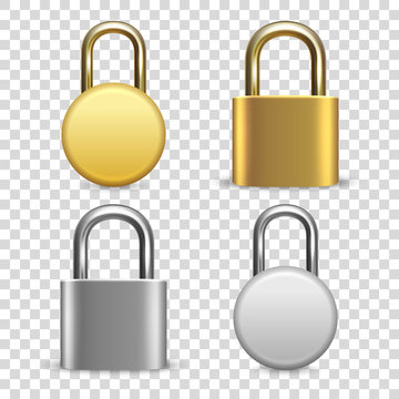Vector 3d Realistic Closed Metal Golden and Silver Padlock Icon Set Closeup Isolated on Transparent Background. Design Template of Gold, Steel Lock for Protection Privacy, Web and Mobile Apps, Logo