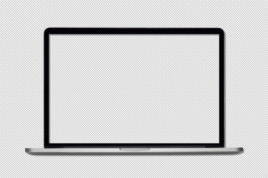 Isolated Laptop or notebook, Computer display with blank screen on a transparent background