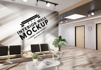 Wall in Office Lobby Mockup