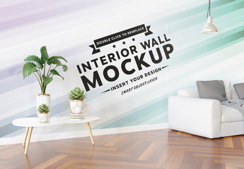 Wall in Living Room Mockup