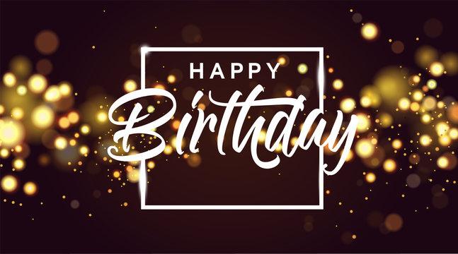Happy birthday golden bokeh sparkle glitter luxury glamor background. Abstract defocused circular party magic birthday. Glamorous elegant shiny background for birthday design for invitation or flyer.