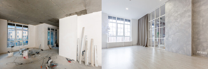 Obraz flat renovation, apartment refurbishment, room modernization - fototapety do salonu
