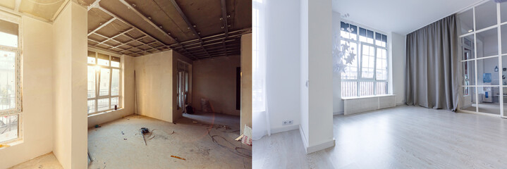 Unfinished building interior white room repairs in the apartment preparing in the roomrenovation concept - room before and after renovation