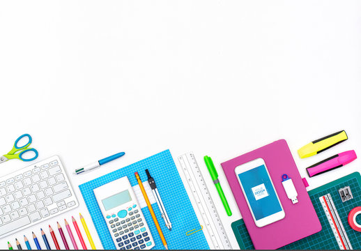 Smartphone and School Supplies Background