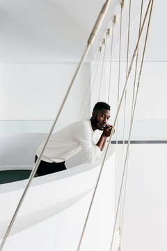 Portrait of worried african american man