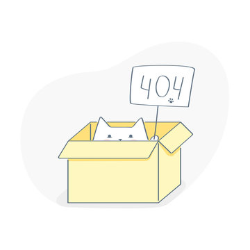 Shroedinger's cat, the cat sits in a box with a 404 sign. Page or file not found, connection error. Flat outline vector on white.