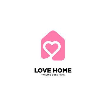 Love Home logo template, vector illustration - Vector