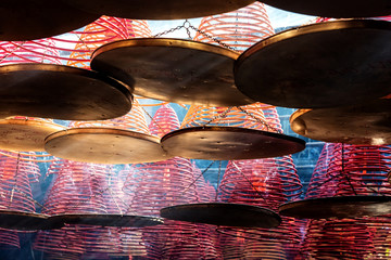 Circular incenses in Chinese temple, Hong Kong