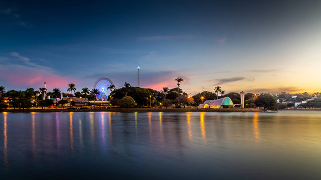 Sunset at the Pampulha lagoon, in Belo Horizonte, overlooking the Church of Sao Francisco de Assis and Guanabara Park.