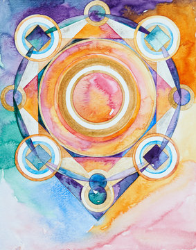 Hand-drawn mandala pattern, with watercolor paints and watercolor paper.