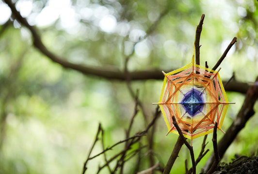 Hand-woven dream catcher graphic, in a natural wood environment.