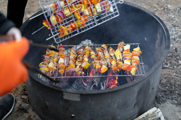Fresh vegetables and marinated chicken cooked as kabobs over an open campfire.