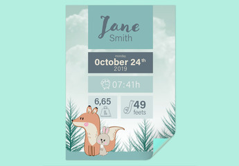 New Baby Birth Announcement with Animal Illustrations Layout