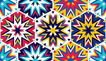 Abstract seamless pattern with hexagonal structure. Bright saturated colors for your design.
