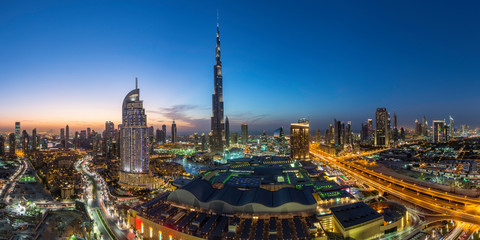 Modern city skyline at dusk, Dubai, UAE