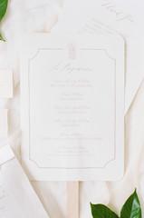 White and Grey wedding program/fan
