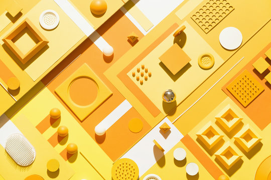 yellow abstract geometric composition/still life.