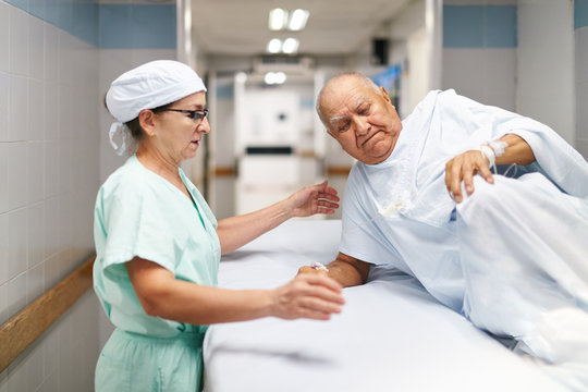 Patient and nurse is preparing for a treatment