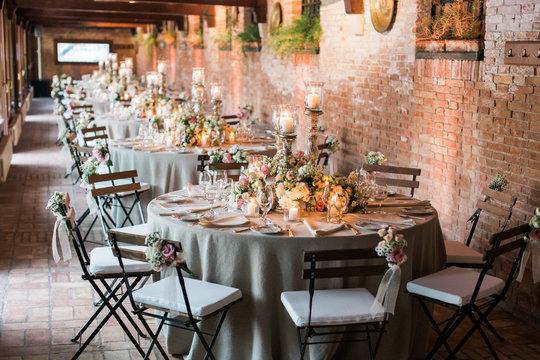 An elegant Italian indoor wedding Reception