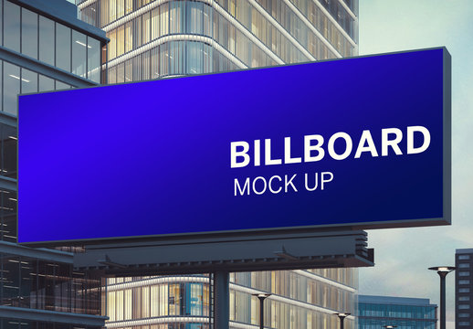 Large Horizontal Billboard in a City Mockup