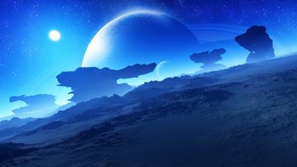 In de dag Aubergine concept art of unique majestic fantasy alien planet environment landscape