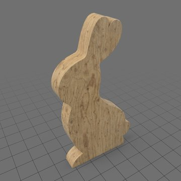 Wooden bunny statue