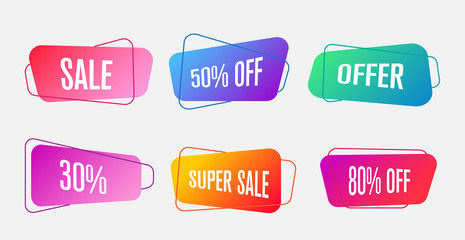 trendy sale gradient banners, flat vector illustration