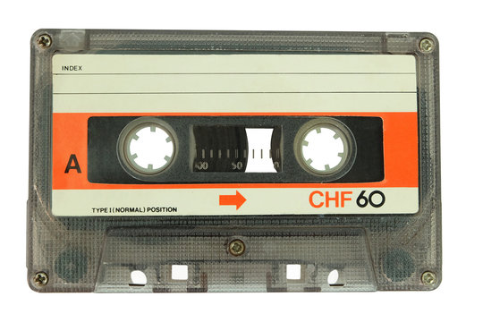 Old cassette tape isolated on a white background