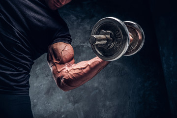 Closeup detailed photo shoot of bodybuilder's arm