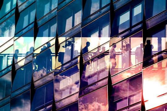 people and city double exposure - abstract business concept  -