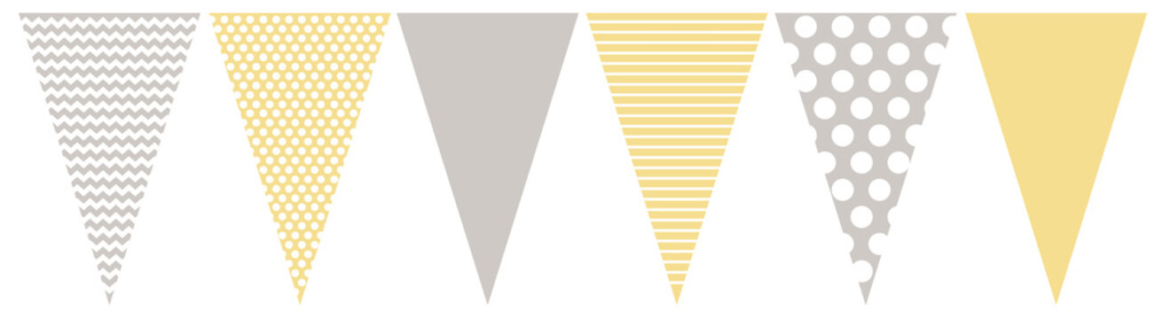 Cute Gray, White and Yellow Vector Blotting Flag.Do It Yourself Party Decoration Set. Simple Geometric Various Patterns. Lines, Dots and  Chervron Design. Party Garland Elements.