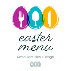 Abstract restaurant easter menu design with cutlery signs