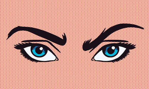Pop-art vector illustration of frowning eyes. Comic style. Benday dot technique