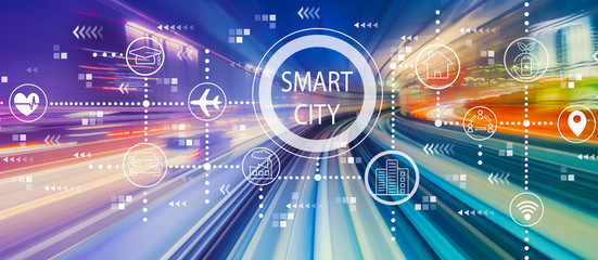 Smart city concept with abstract high speed technology POV motion blur
