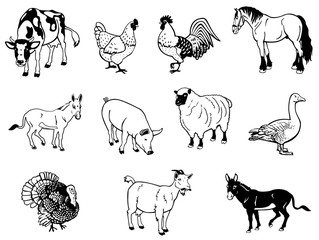 Vector illustration of farm animals in black and white