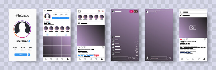 New Mock up.  Mobile instagram mock-up.  Web site mobile template. Social network interface mock up. UI UX KIT Flat design. Vector