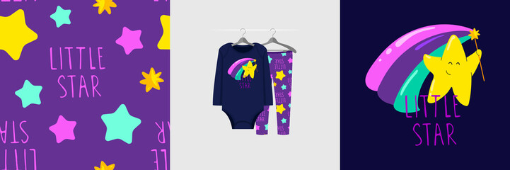 Wall Mural - Seamless pattern and illustration for kid with star, text Little star. Cute design pajamas on hanger. Baby background for clothes wear fashion, room decor, t-shirt print, baby shower invitation