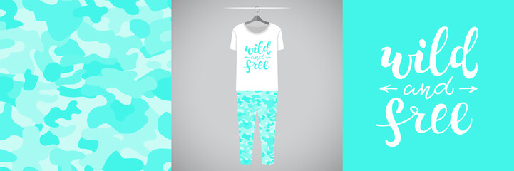 Wall Mural - Seamless mint military pattern and illustration for kid with lettering Wild and free. Cute design pajamas on hanger. Baby background for clothes, room birthday decor, t-shirt print, kids wear fashion