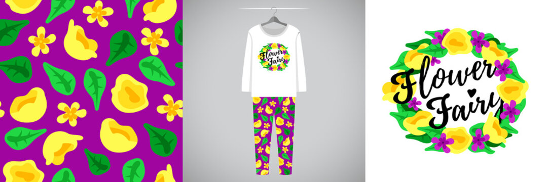 Seamless pattern and illustration for kid with yellow wreath and quote Flower Fairy. Cute design pajamas on hanger. Baby background for clothes, room birthday decor, t-shirt print, kids wear fashion